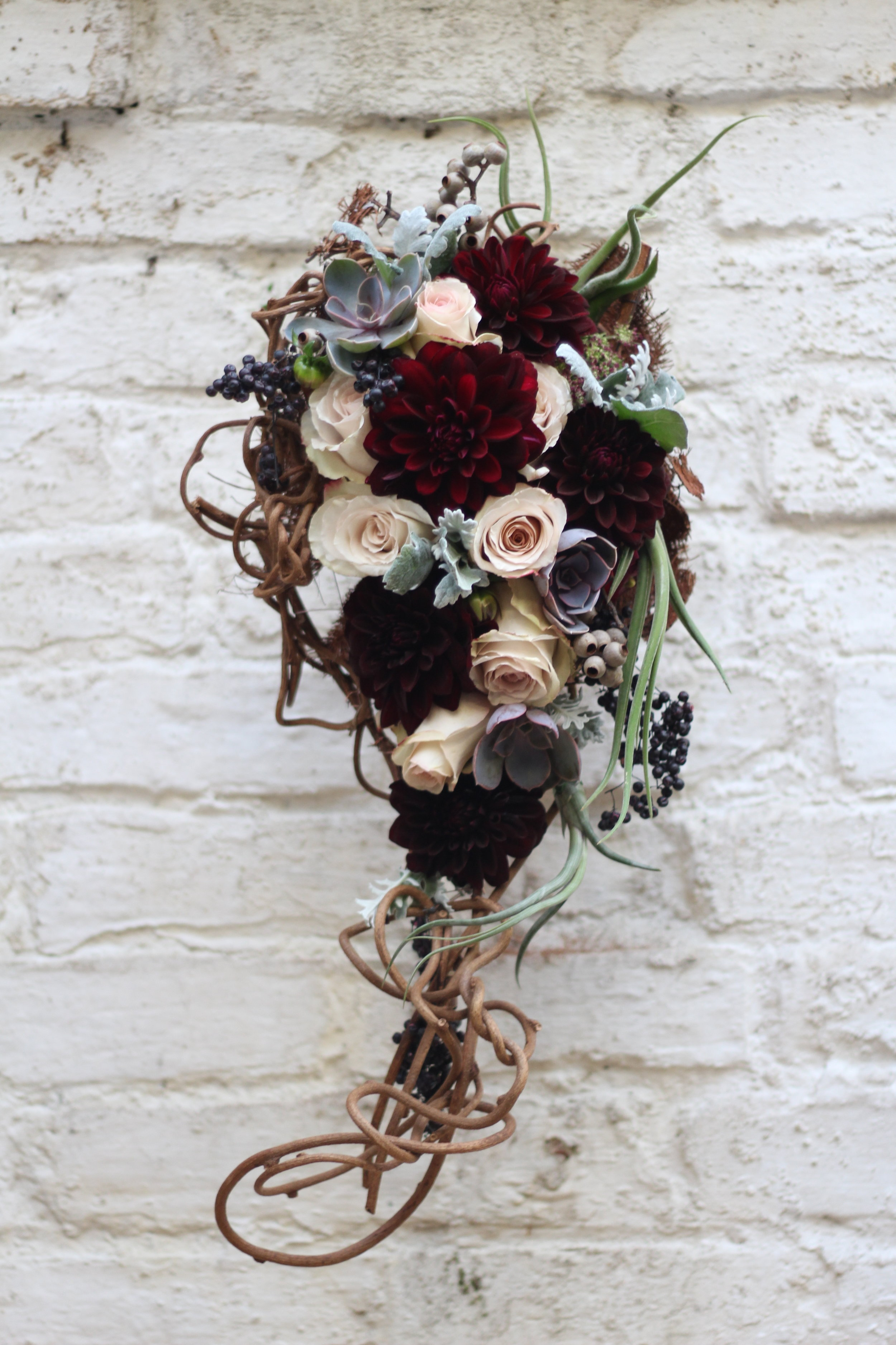 Becca's Bridal bouquet  - one of my kiwi vine and copper mesh frames all hand made and filled with what used to be my guilty pleasure - Dahlia - but luckily styles have changed once more and I now feel there is nothing to feel guilty about.