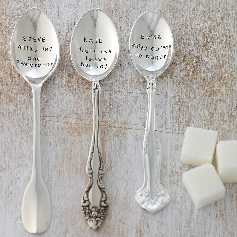 Silver Spoon - What the actual origin of a silver spoon as a christening gift is, I'm not sure. In any case, spoons are both useful and great keepsakes. Personalised Teaspoon   £19   The Cutlery Commission