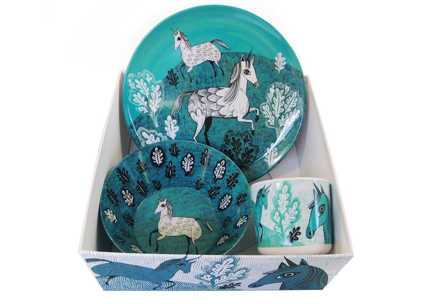 Dinnerware - I like a unicorn as much as the next person (and seems that EVERYONE loves unicorns these days). This gorgeous children's breakfast set from Lush Designs makes them look like majestic, mythical beasts in wild forests.Lush Designs breakfast set  £19  Heal's