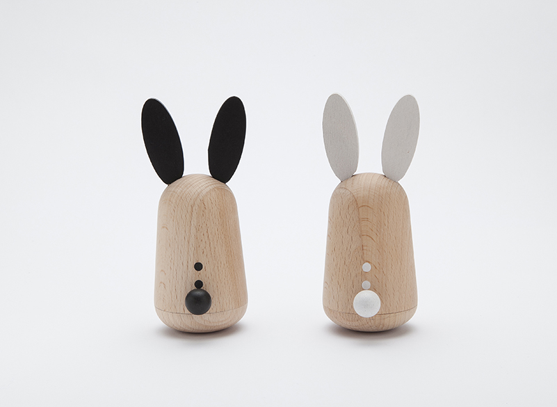 Chiming rabbits - Reclaim the rabbit! Rabbits for all!Shake and wobble these simple wooden bunnies to hear them chime.Usagi Rabbit friends by Kukkia  £35  Hip Little People