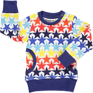 Stars Sweater - Super star print from unisex brand Boys&Girls. Organic cotton and popper neck to help slide on and off a wriggly baby. Stars Crew Neck  £22  Boys&Girls