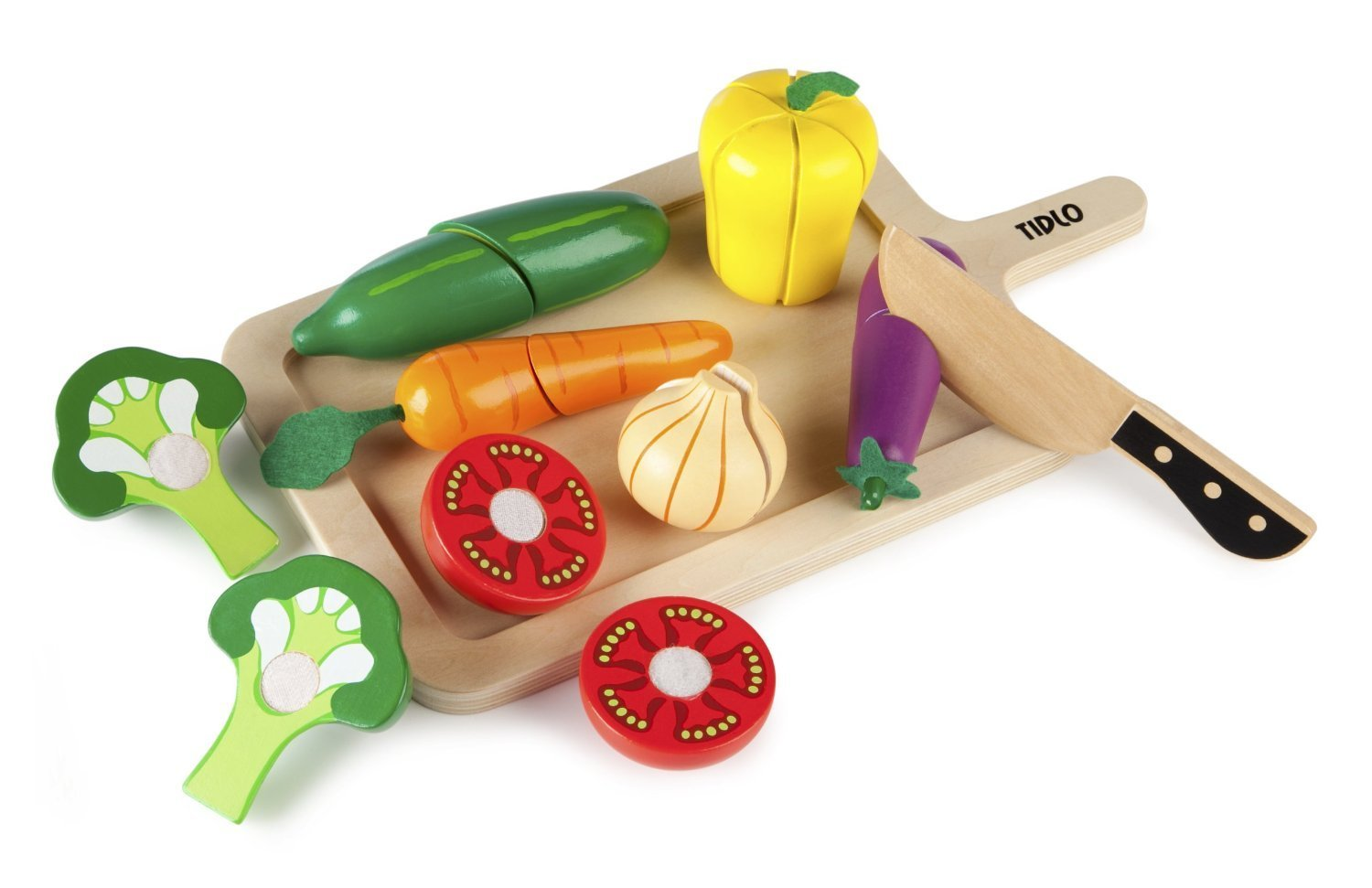 Wooden veg chopping set - Cooking is not just for the girls! Join in at food prep time. This Tidlo set is realistic enough to care about what it looks like when you cut the pieces apart and has a good-looking board and knife.Tidlo Vegetable set £14.99  Amazon