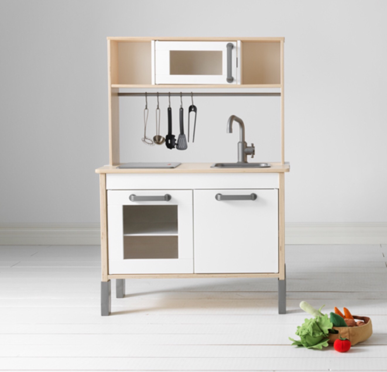 Play kitchen - Clean Scandi design and a light up hotplate. Yes, you have to put it together yourself, but it is completely customisable (see Pinterest). And literally years of having to eat a mushroom pineapple cucumber hot pot await you.Duktig kitchen £59 Ikea