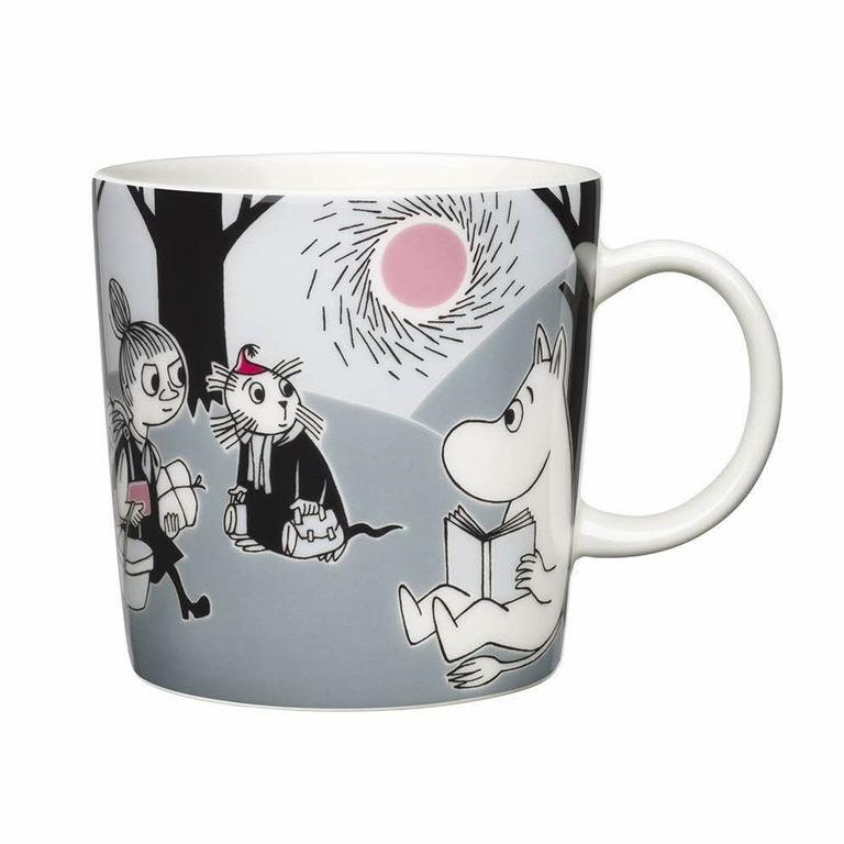 Moomin Mug - At 5 it's nice to have a few things that are special and only you get to use. Tove Jansson's charming drawings for the Moomin adventures make brilliant mugs, with so many lovely details. This one has all our fave characters including the excellent Little My.Moomin Adventure Mug £14 Scandinavian Design Center