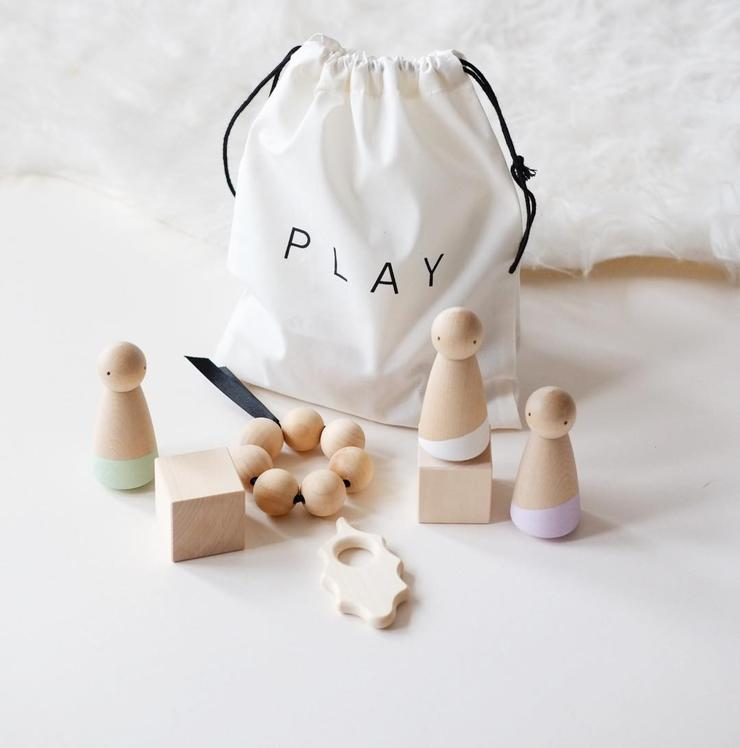 Blossom and Bear sensory play bag - Cleverly thought out, this lovely set will last for years, from chewing to making up stories.£28Style the Nursery