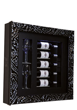 DUNE S5 WINE COOLER   Frame type Dune five bottles/ two glasses  H/W/D: 780x780x155 mm