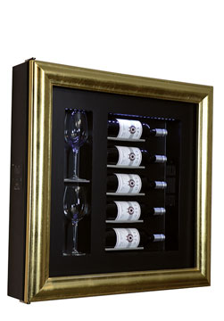 CLASSIC S5 WINE COOLER   Frame type Classic five bottles/two glasses H/W/D: 780x780x155 mm