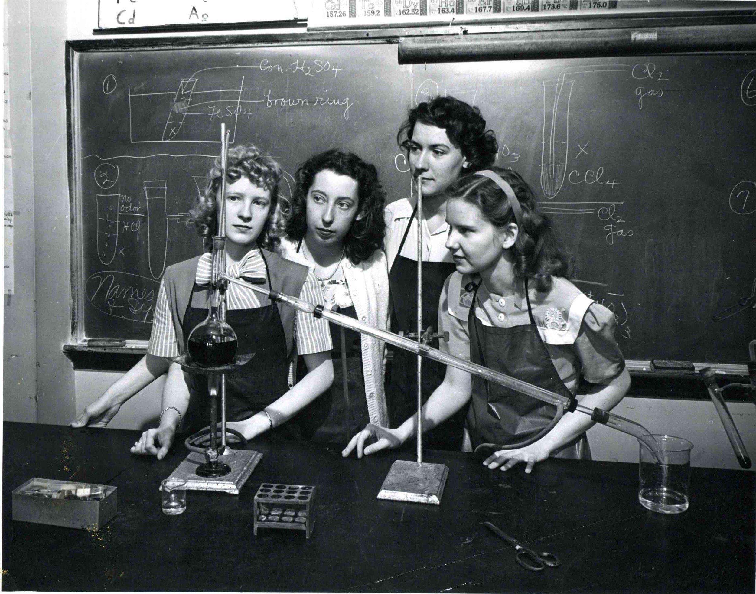 Science lab at Lindenwood University, ca. 1950 ( source )