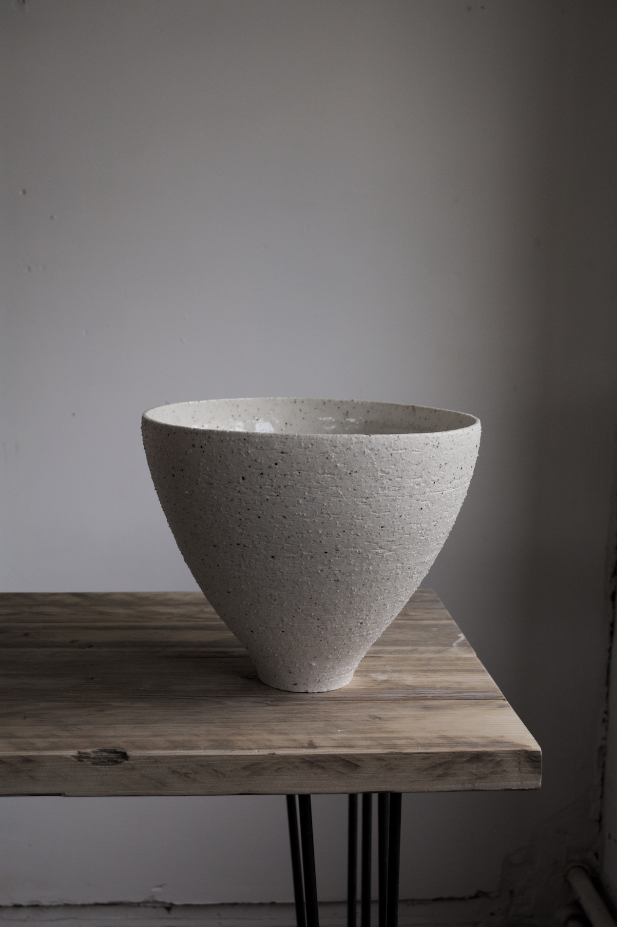 Ground, 2018. 21x26cm   Thrown porcelain with an addition of granite collected from Slieve Donard, County Down, Northern Ireland.