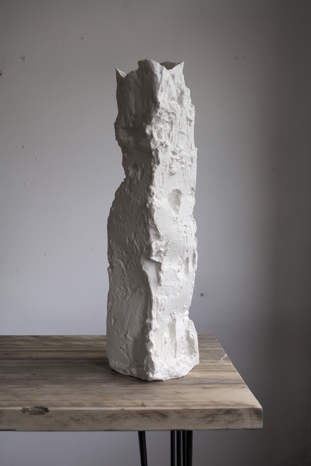 Dug No. 7, 2019. 52x15x10cm.   Slip cast porcelain, model cut with a sleán. Edition of 9.