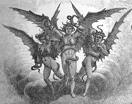 The Erinyes, or Furies. The 'hideous' goddesses of vengeance.