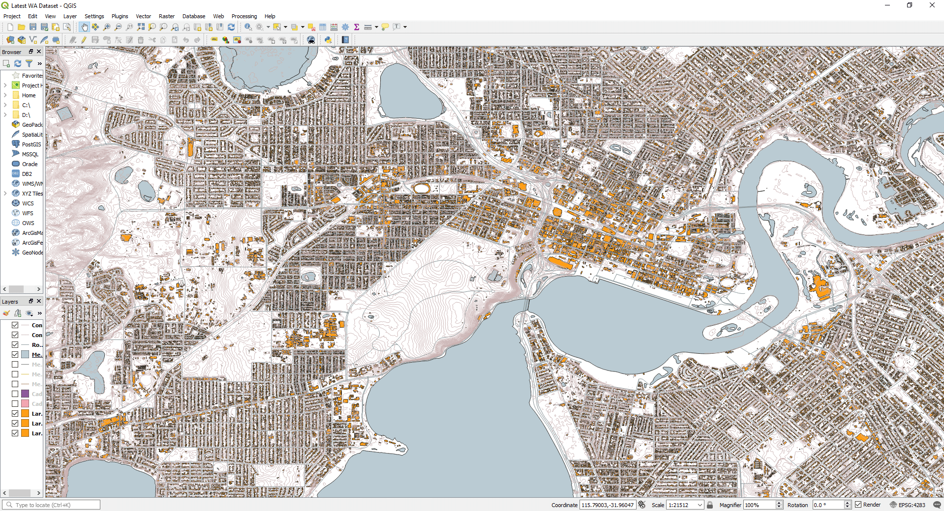 [Figure: QGIS interface with local Perth data]