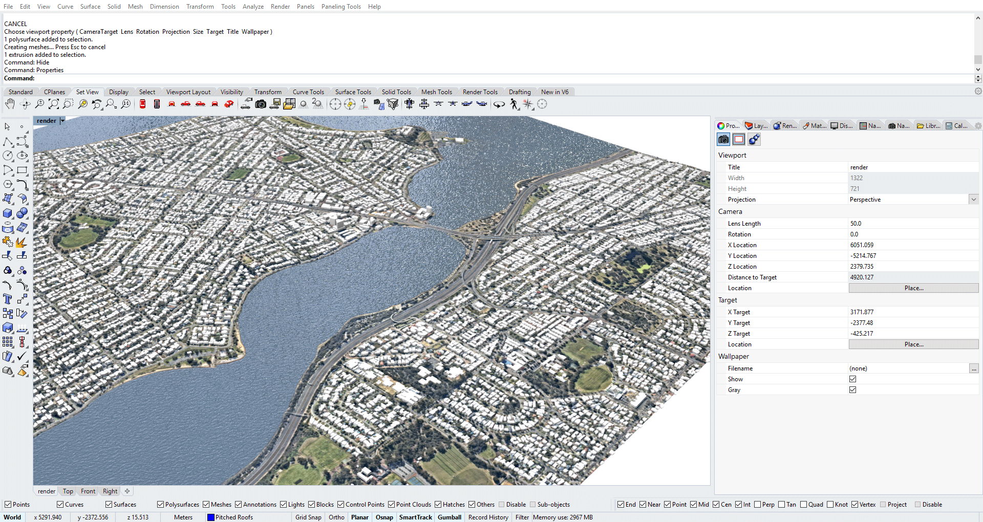 [Figure: Snapshot of the Rhino 3D viewport, demonstrating the 3D model generated from freely available data sets.]