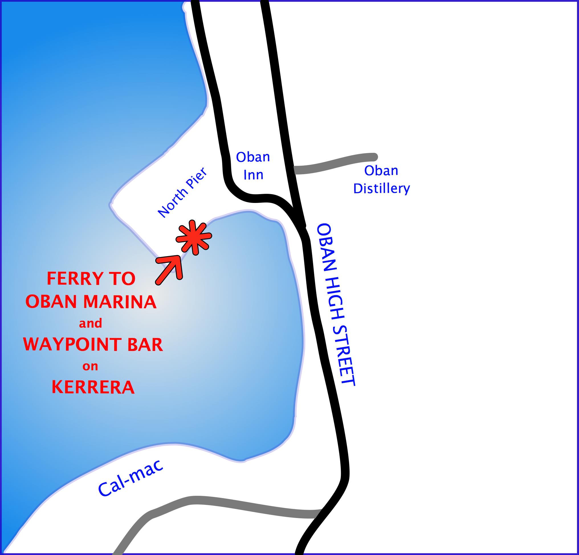 location of the oban to kerrera ferry, north pier, oban