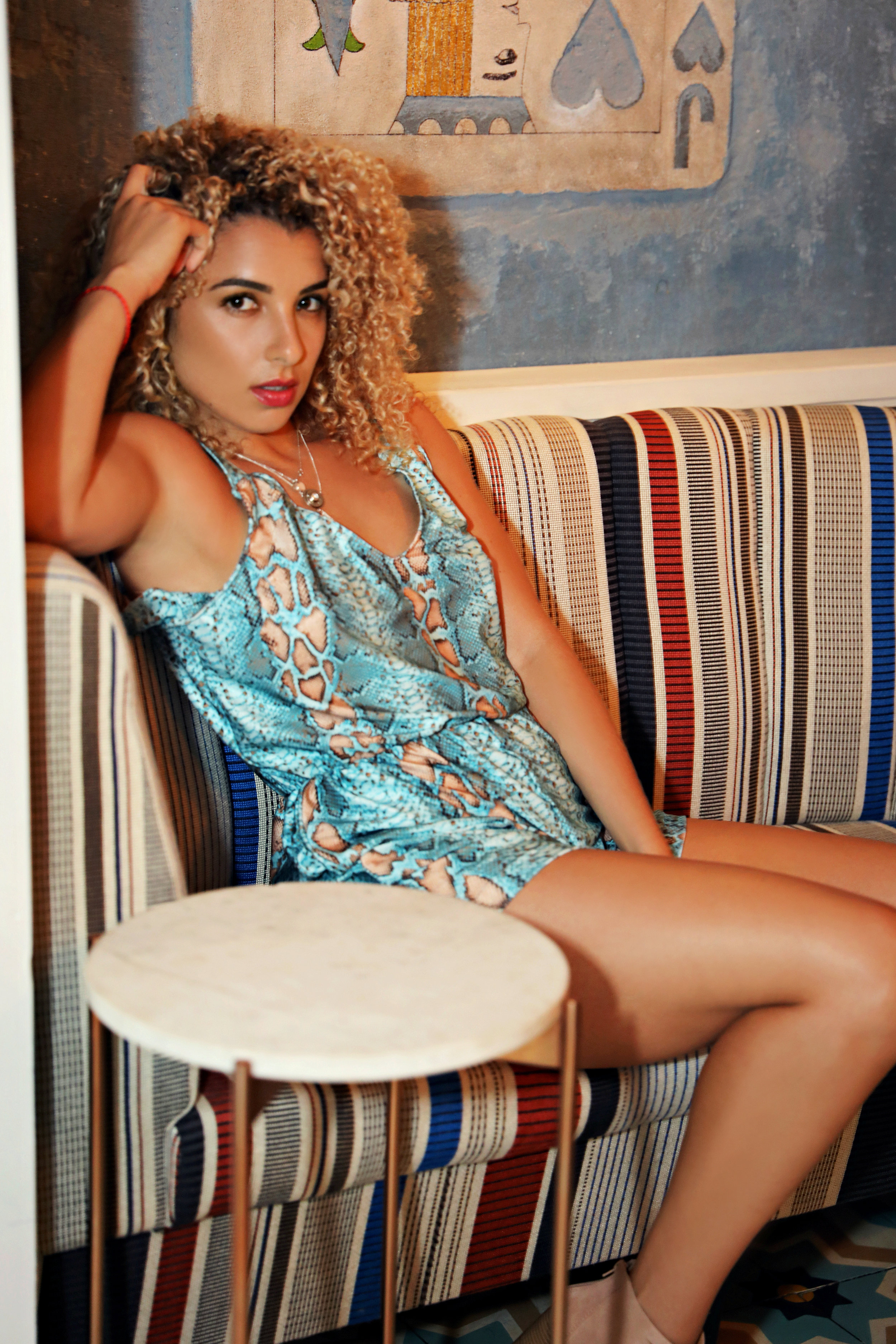 $75 Paige - Blue/Natural Snakeskin Day Romper is all you need to do get run be sun fun