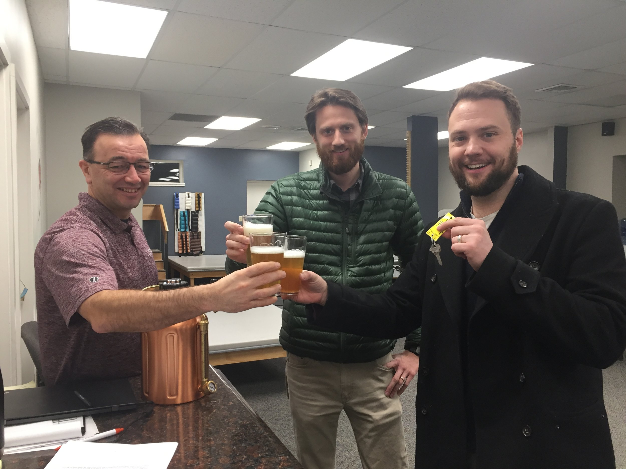 Scott (Landlord), Dayne, and Mike Celebrating over some fresh Placebo Effect.