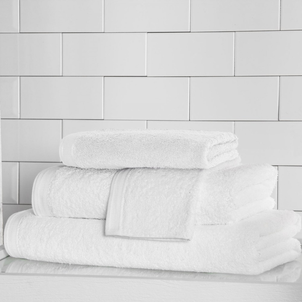 Stack of white bathroom towels