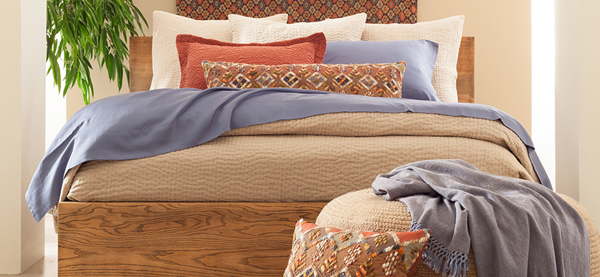 Warm solid colored linens