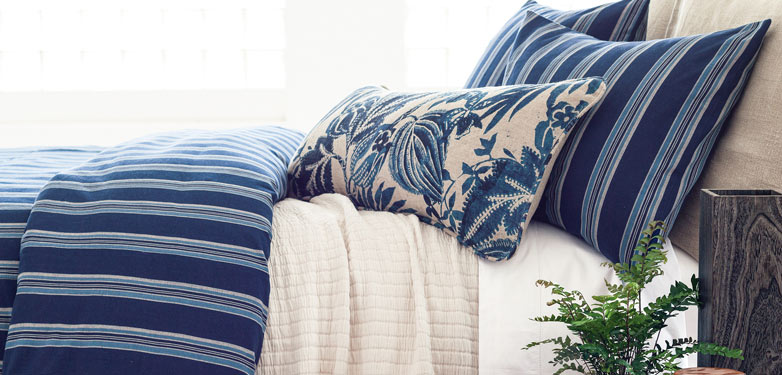 Linens with multiple blue patterns