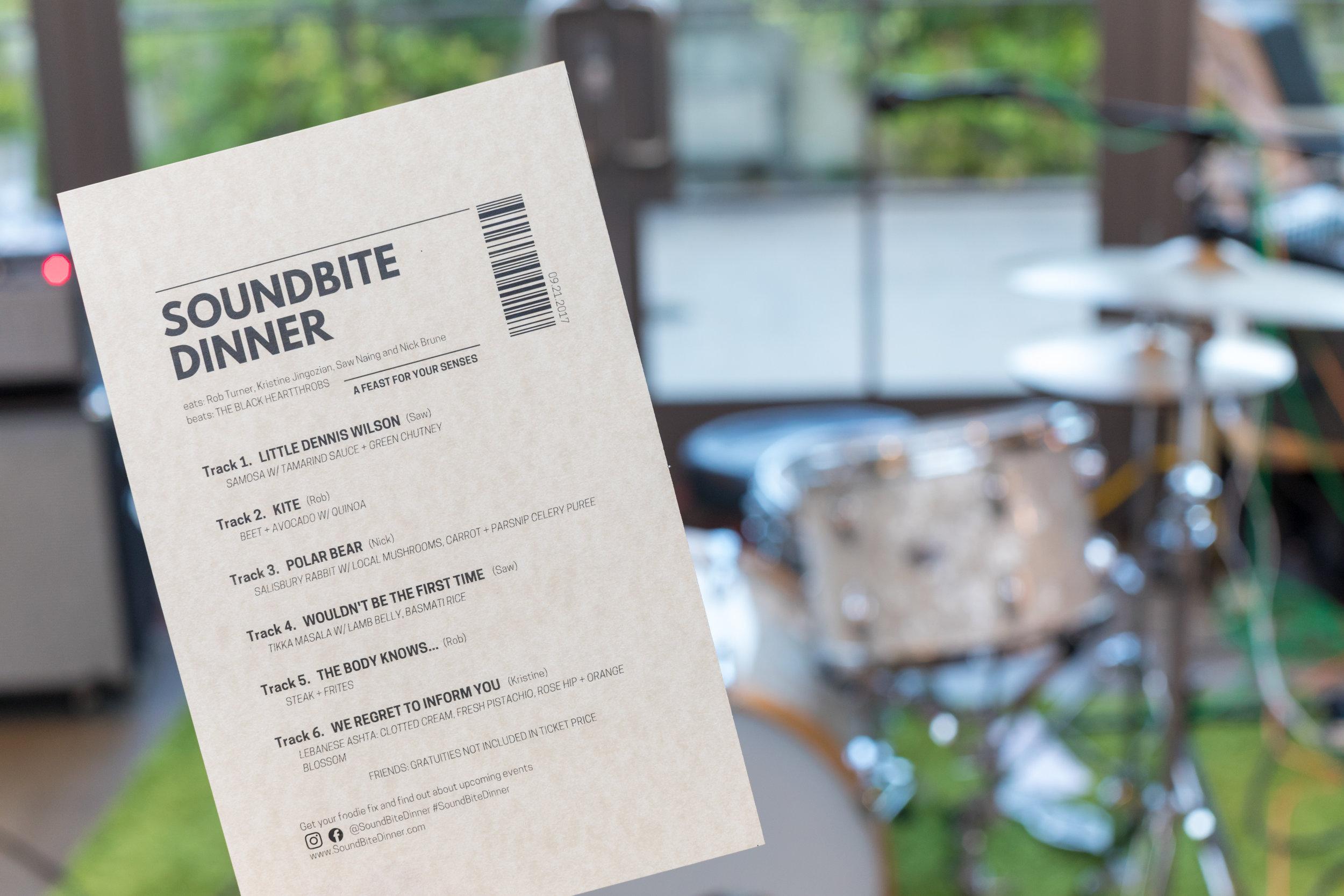 SoundBite Dinner Menu