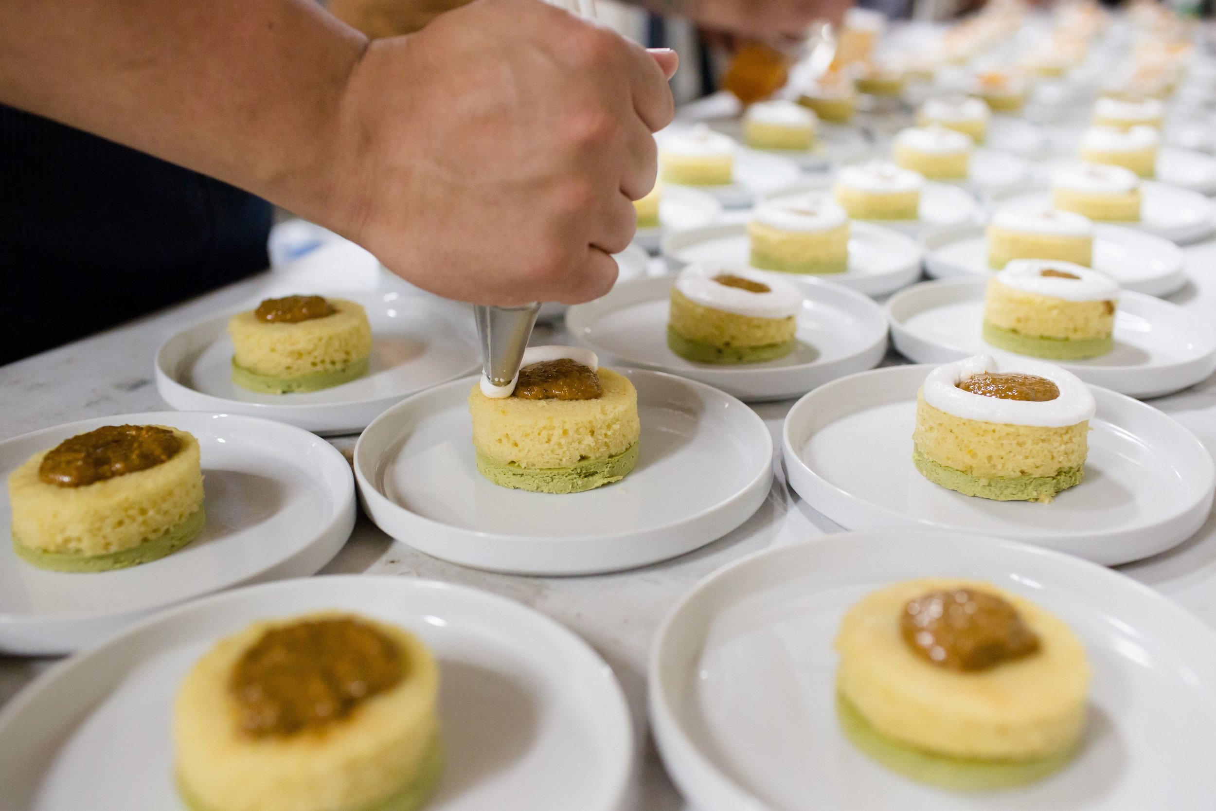 Matcha custard and chai sorbet w/citrus cake, honey meringue and pistachio by chef Brad Wise