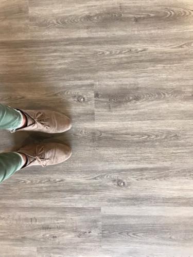 Looking Down at Feet on Floor