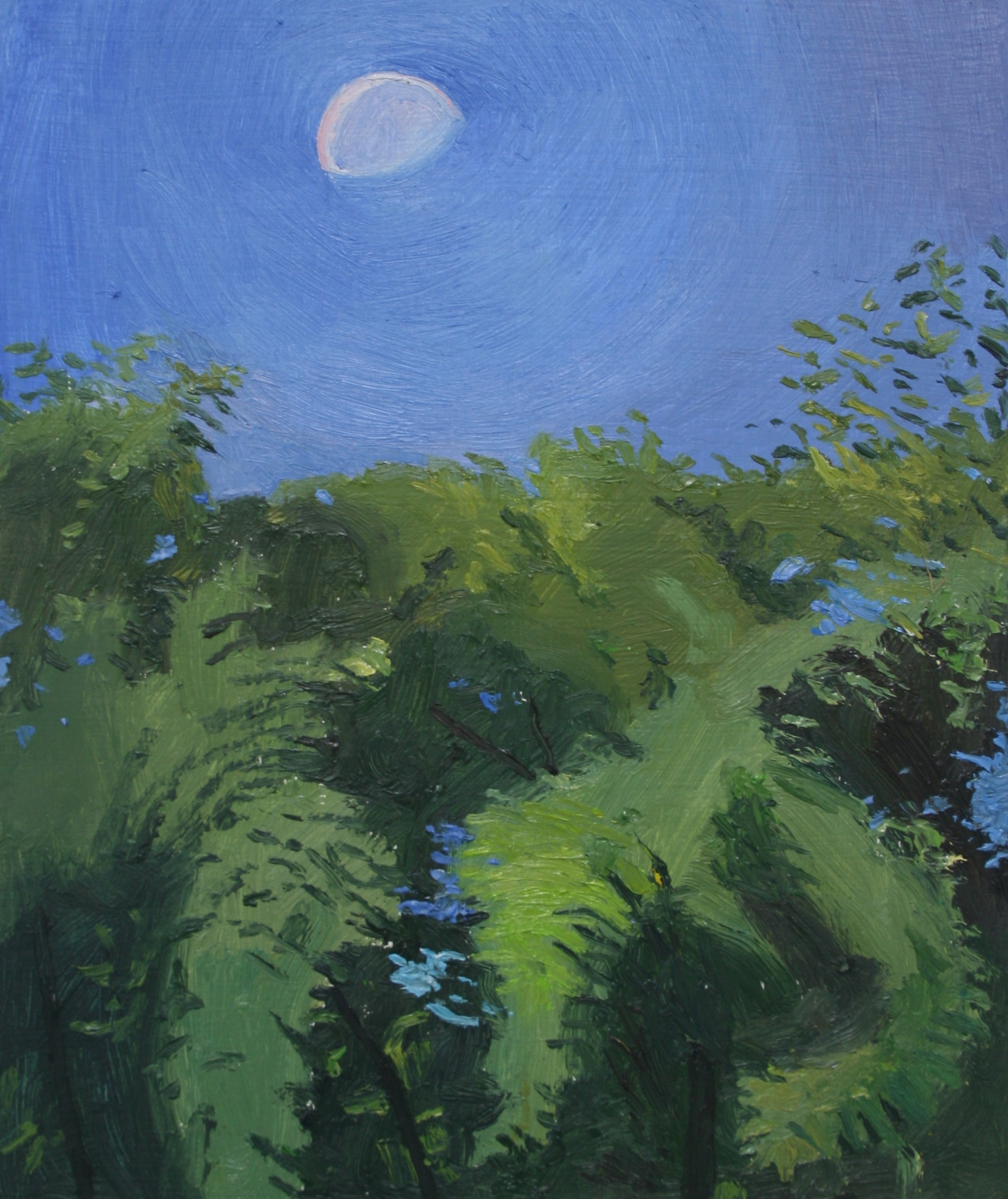 Moon during the day, Oil on panel, 9 x 7.5 in, 2016
