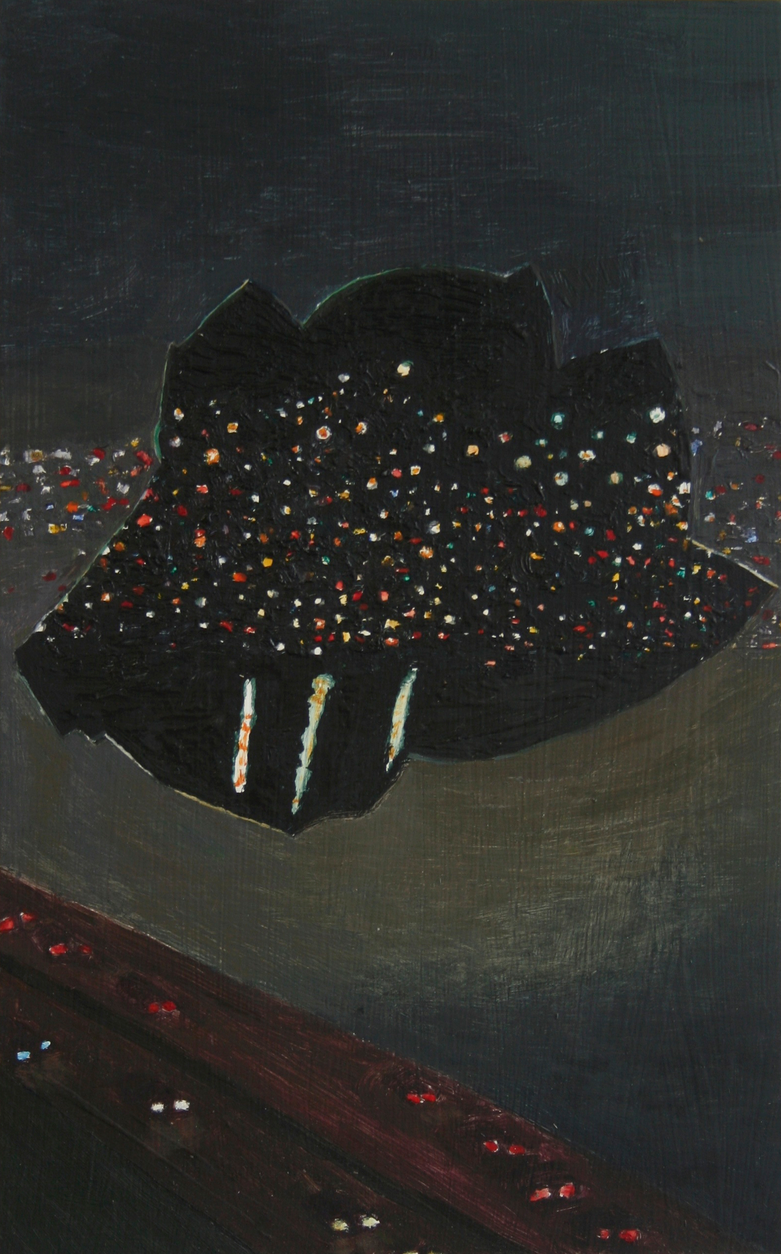 City Night Sky, Oil on panel, 15.5 x 9.5 in, 2014