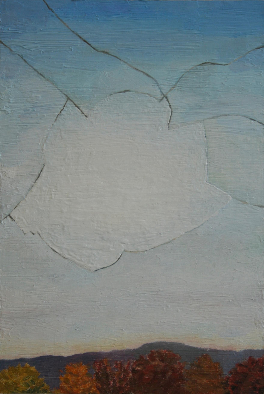 Broken window cloud, Oil on panel, 15.5 x 10.5 in, 2014
