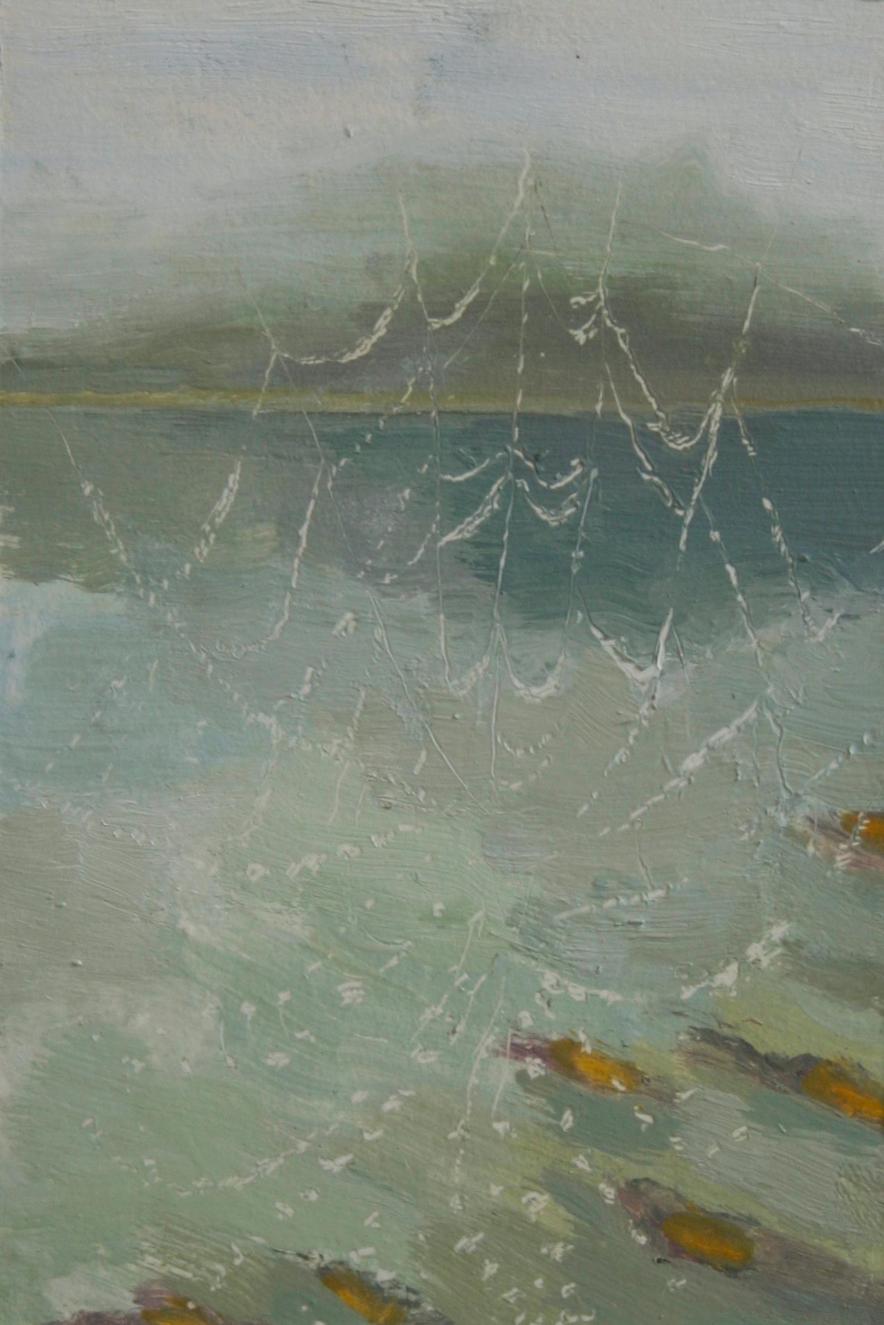 "Caught, Oil on Paper on Panel, 9.5 x 6.5 "", 2014"