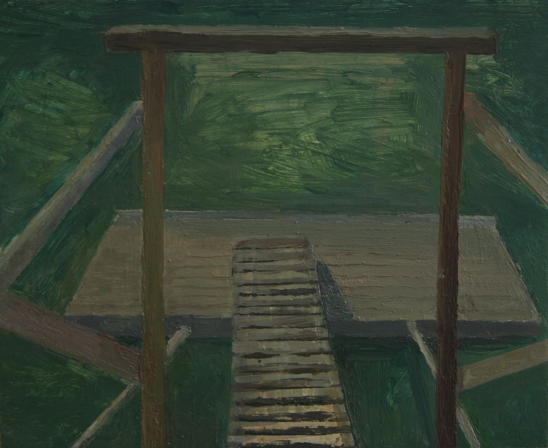"Through a dock, Oil on panel, 9.5 x 12.5 "", 2014"