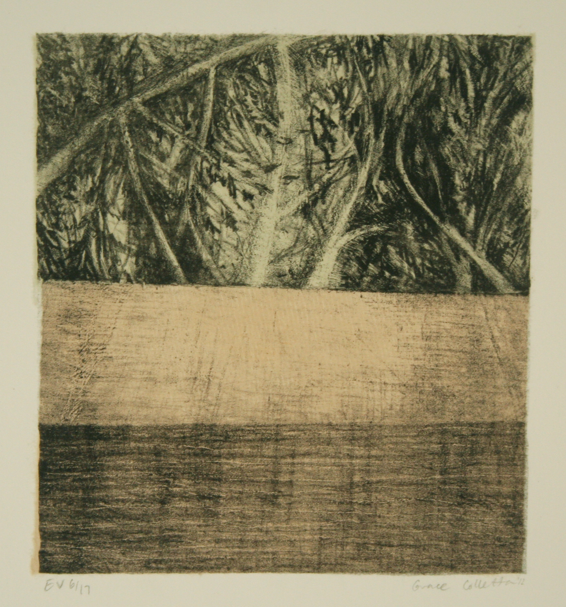 Split Landscape with Sill, Stone Lithograph with Chine-collé, 6.25 x 5.75 inches, 2012
