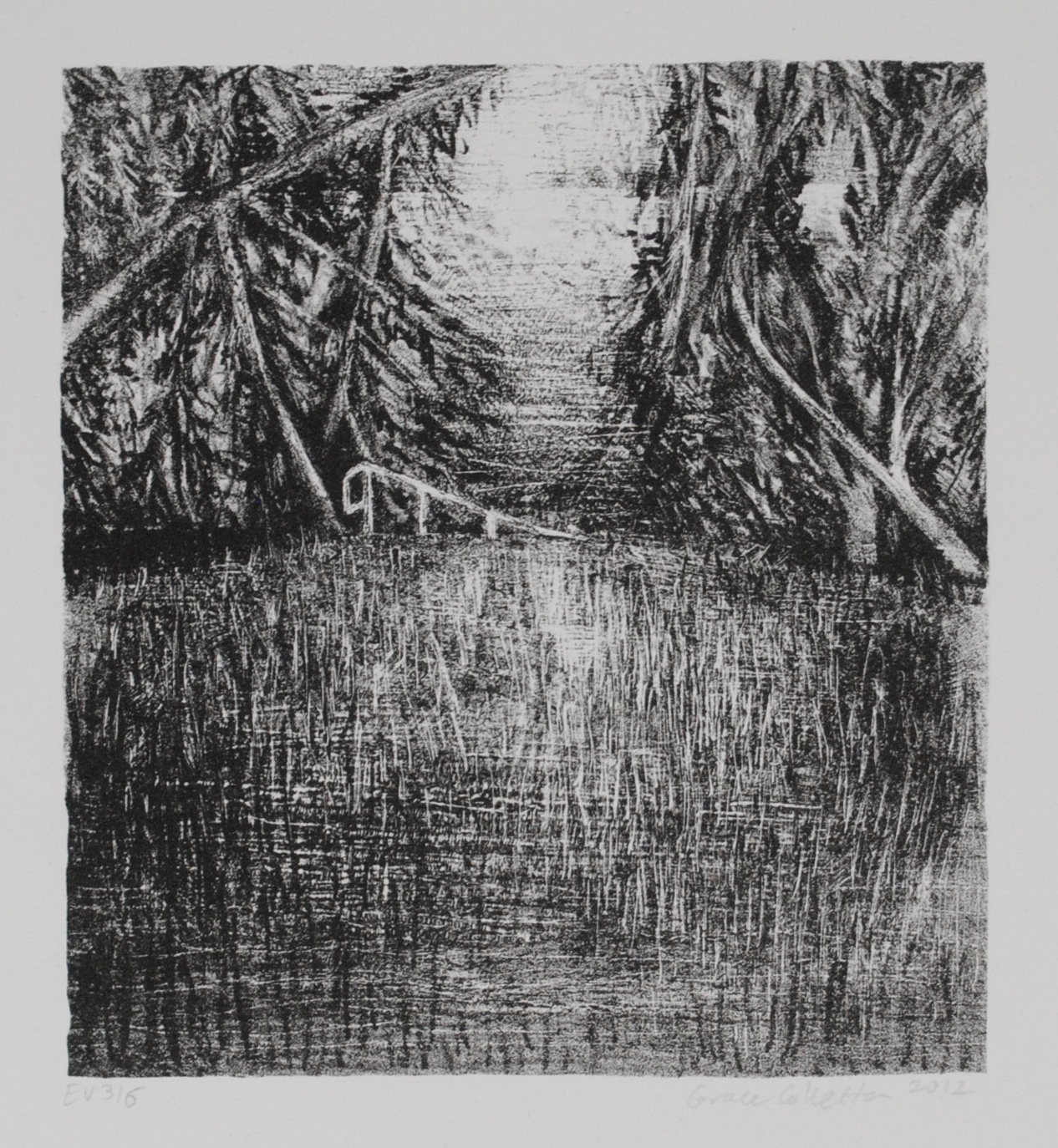 Landscape with hand rail, Stone Lithograph, 6.25 x 5.75 inches, 2012