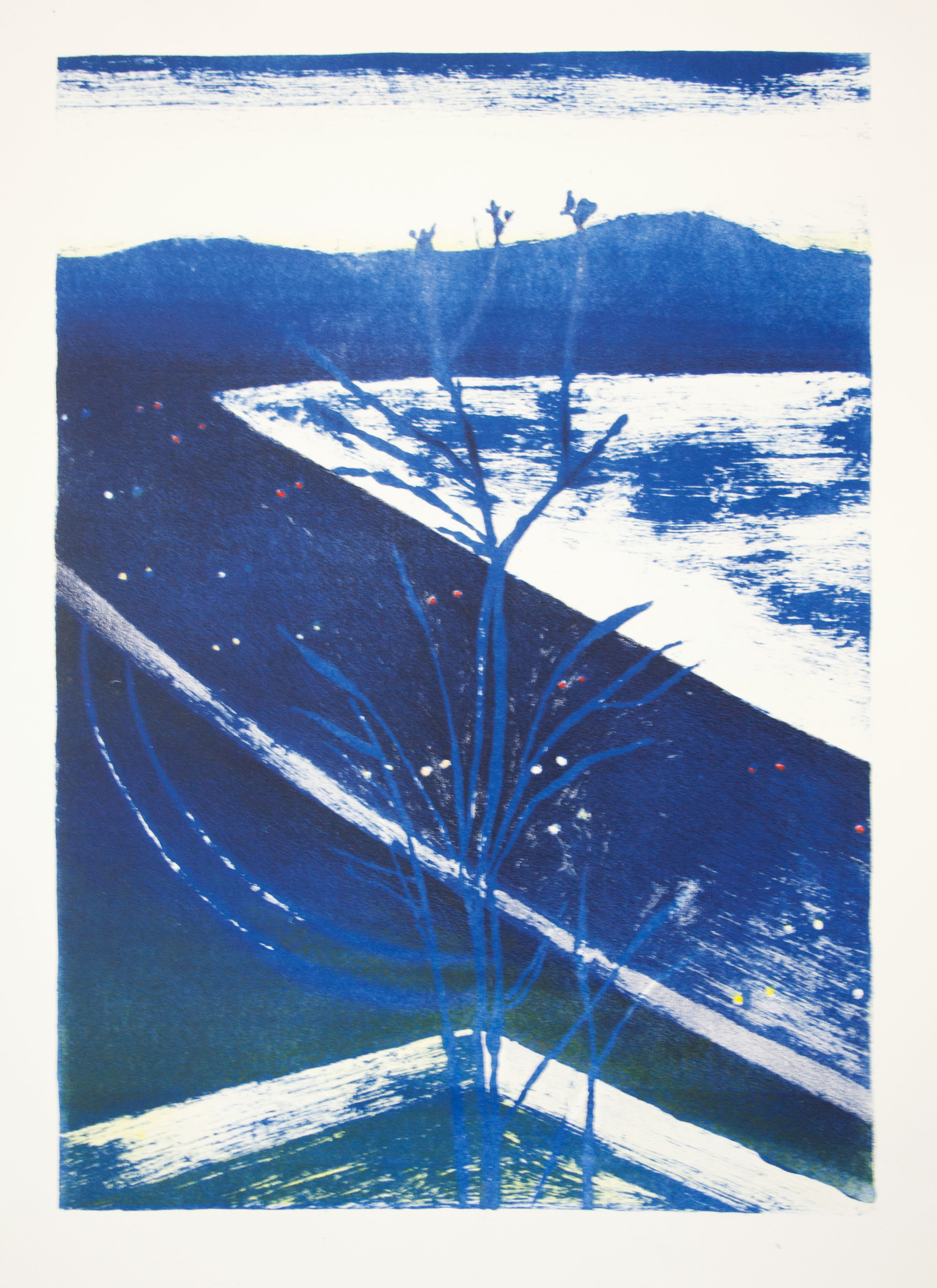 Tree in Blue, Lithograph, 16.5 x 11.5 inches, 2015