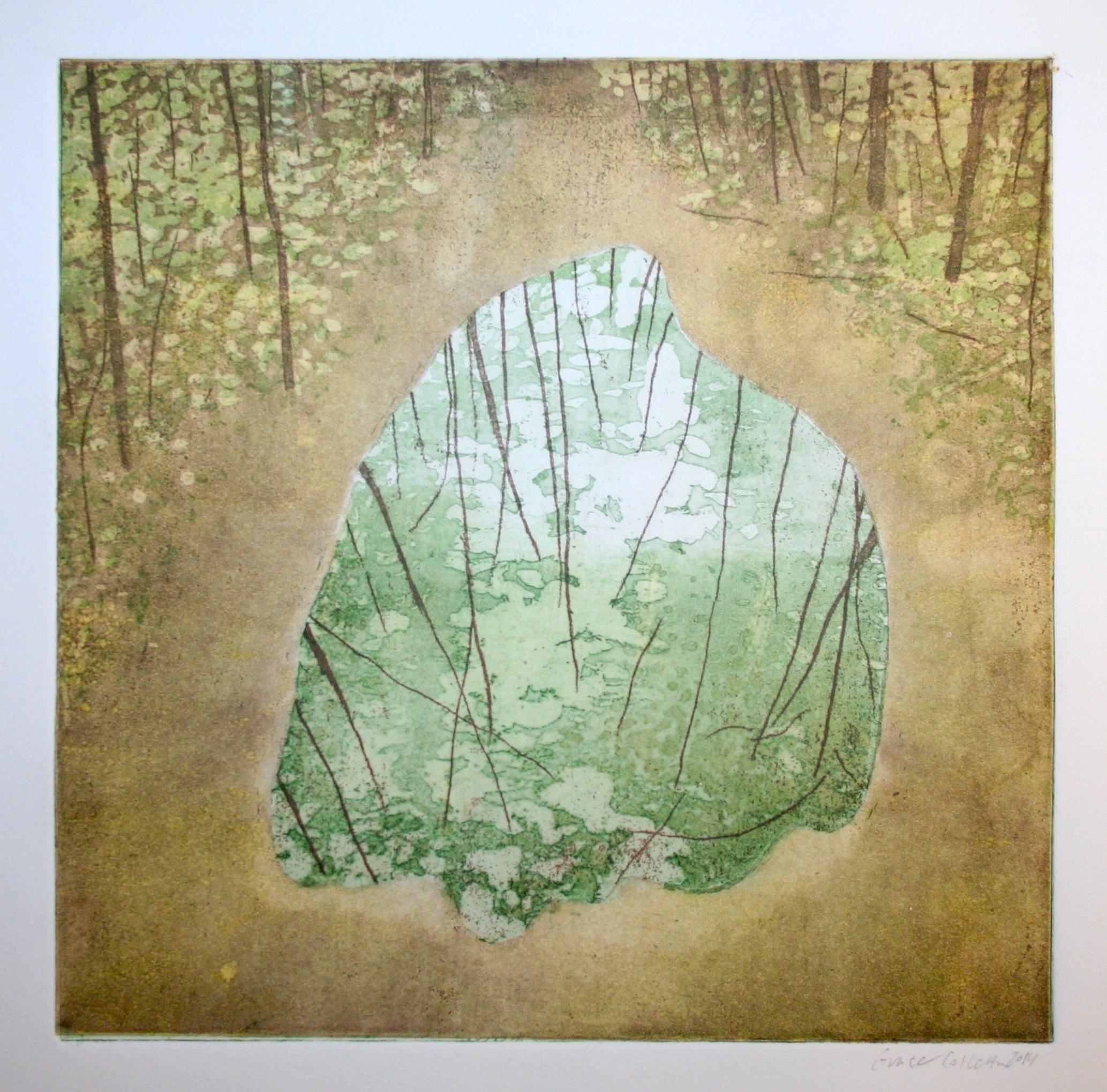 "Forest Mirror ll, Intaglio and Relief print on paper, 9 x 9 "", 2014"