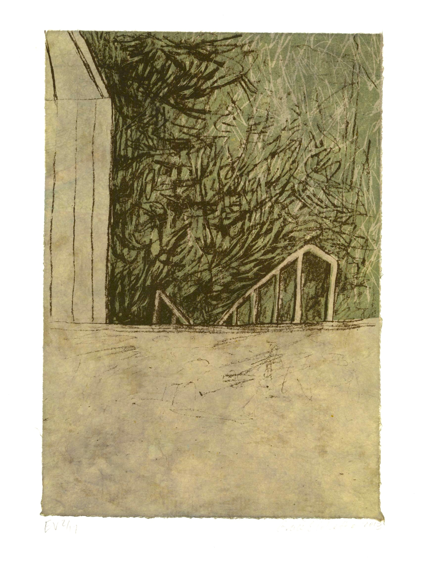 Below, Stone Lithograph with Chine-collé paper, 6 x 4 inches, 2013