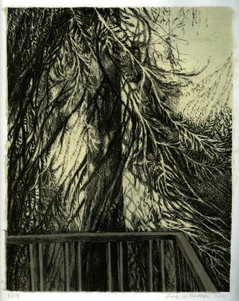 Balcony and Tree, Stone Lithograph with Chine-collé paper, 12 x 10 inches, 2012
