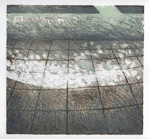 Sidewalk/Ocean, Stone Lithograph, 8 x 8 inches, 2012