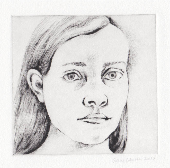 Self portrait, 4 x 4 in, drypoint, 2011