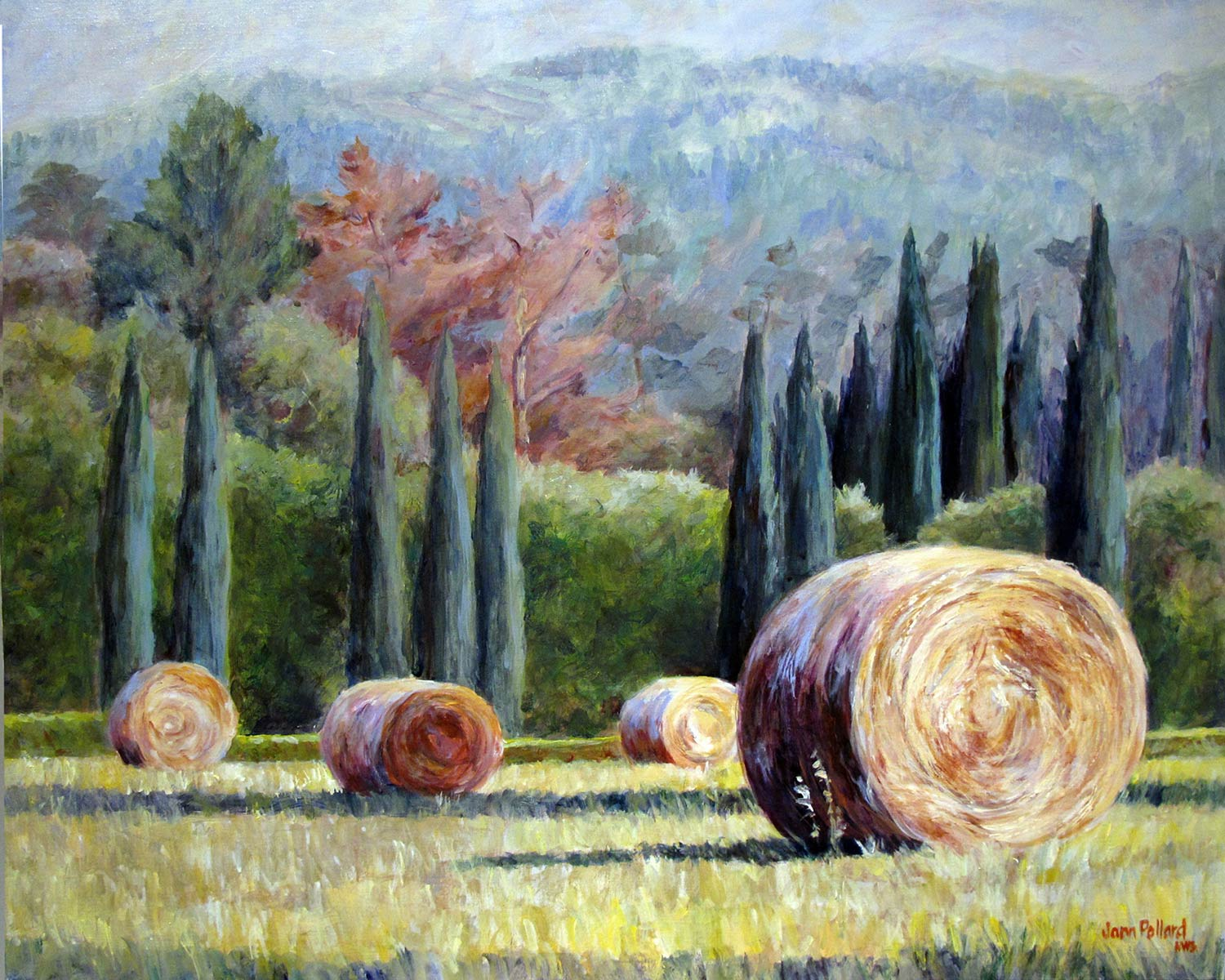 Tuscan Hay and Cypress Trees