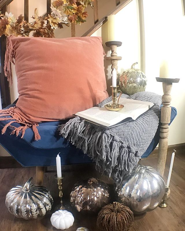 Who else is getting excited for fall? it's time to come up with some Fall decor ideas! What's your favorite room to decorate in your home for fall? #allaboutthebliss #homedecor #falldecor #homedetails #interiordesign #fall #blankets #candles #textiles #decorinspo #styleinspo #inspiredecor #modernboho #pumpkins #designlife