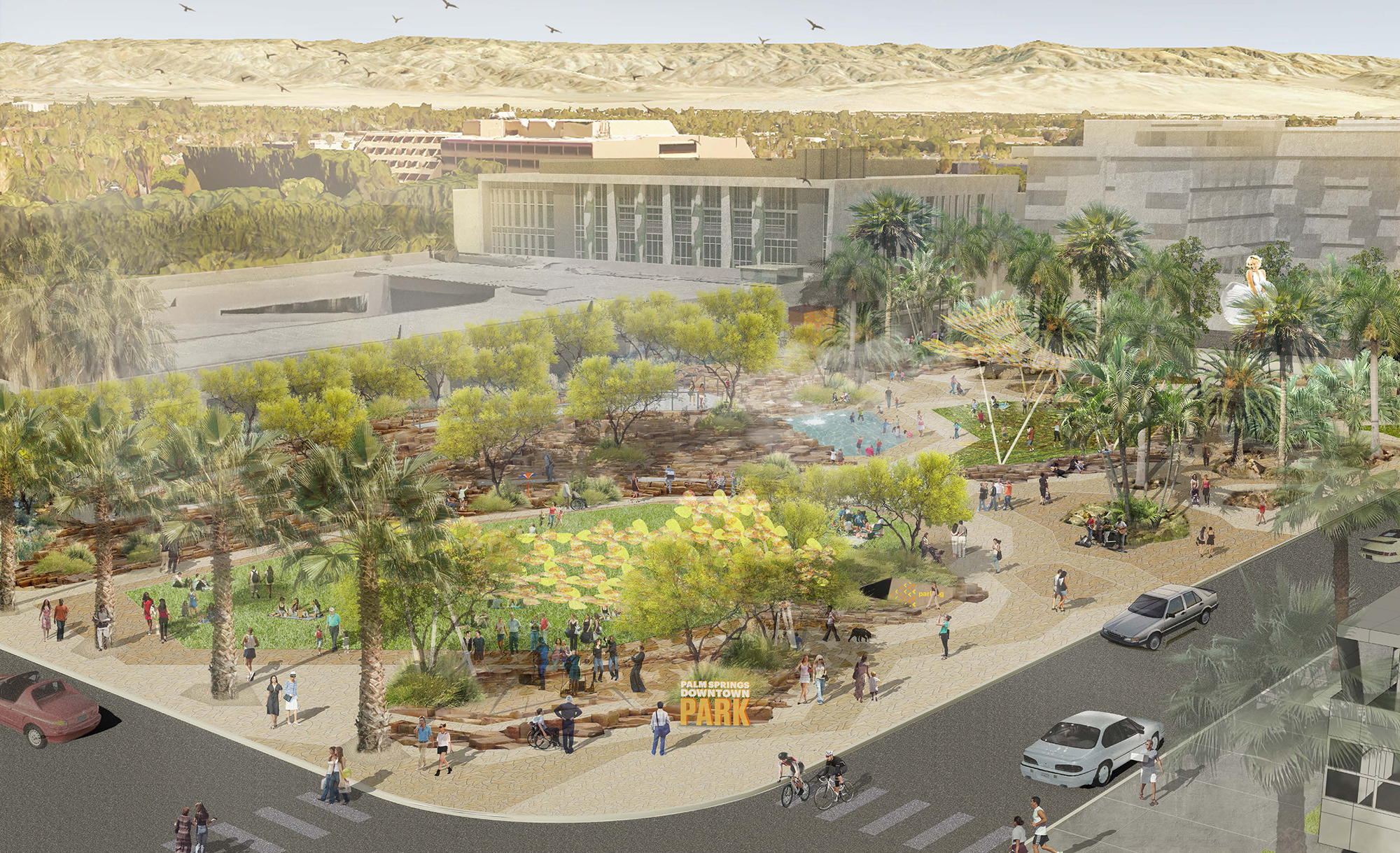 Palm Springs Downtown Park will create a destination for gathering when it is complete in late 2019.