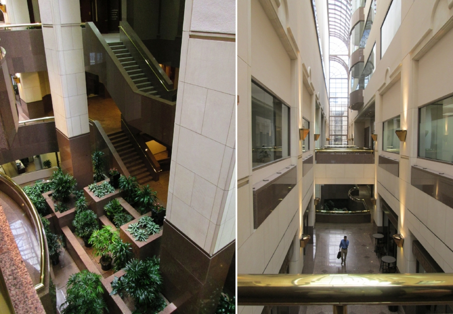 BEFORE: Left | the scissor stair in the central atrium; Right | the atrium connectors which connect to the points of entry