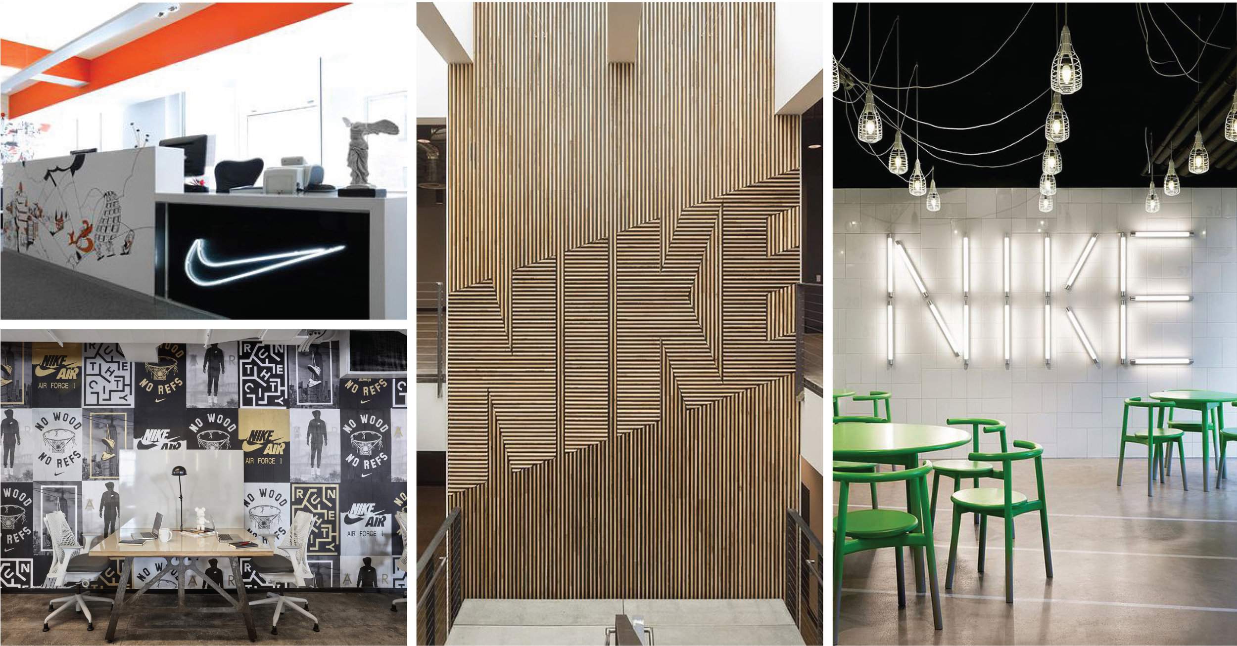 The various expressions of the Nike brand in their workplaces. Top left: Rosie Lee; Bottom left: Nike by o+a; Middle: Fieldwork Design & Architecture; Right: Workshop of Wonders.(designs by others)