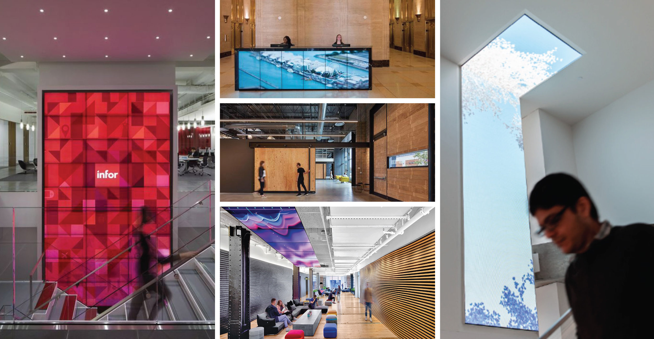 Left: Infor offices by Stantec; Middle Top: Motorola; Middle: Retail Design Collaborative; Middle bottom: Google Chelsea; and Right: Microsoft (designs by others)