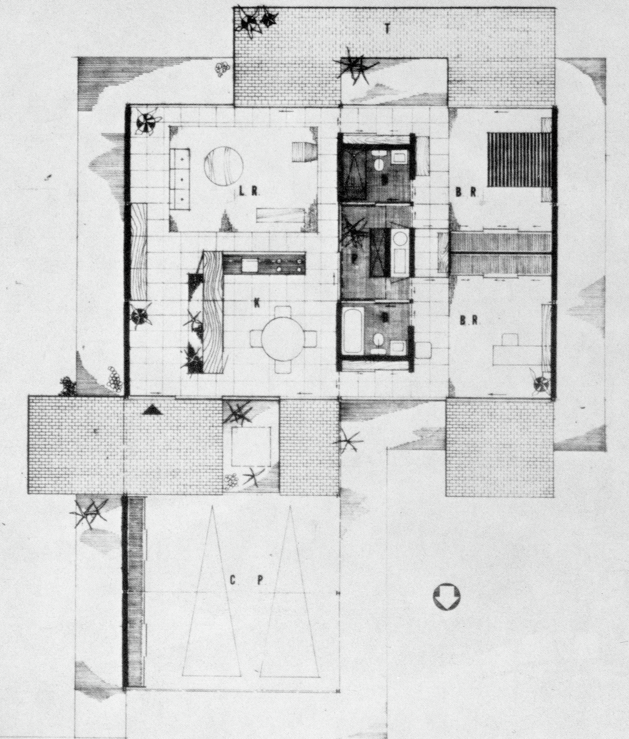Bailey House Plan, Case Study House No. 1, Pierre Koenig. 1958