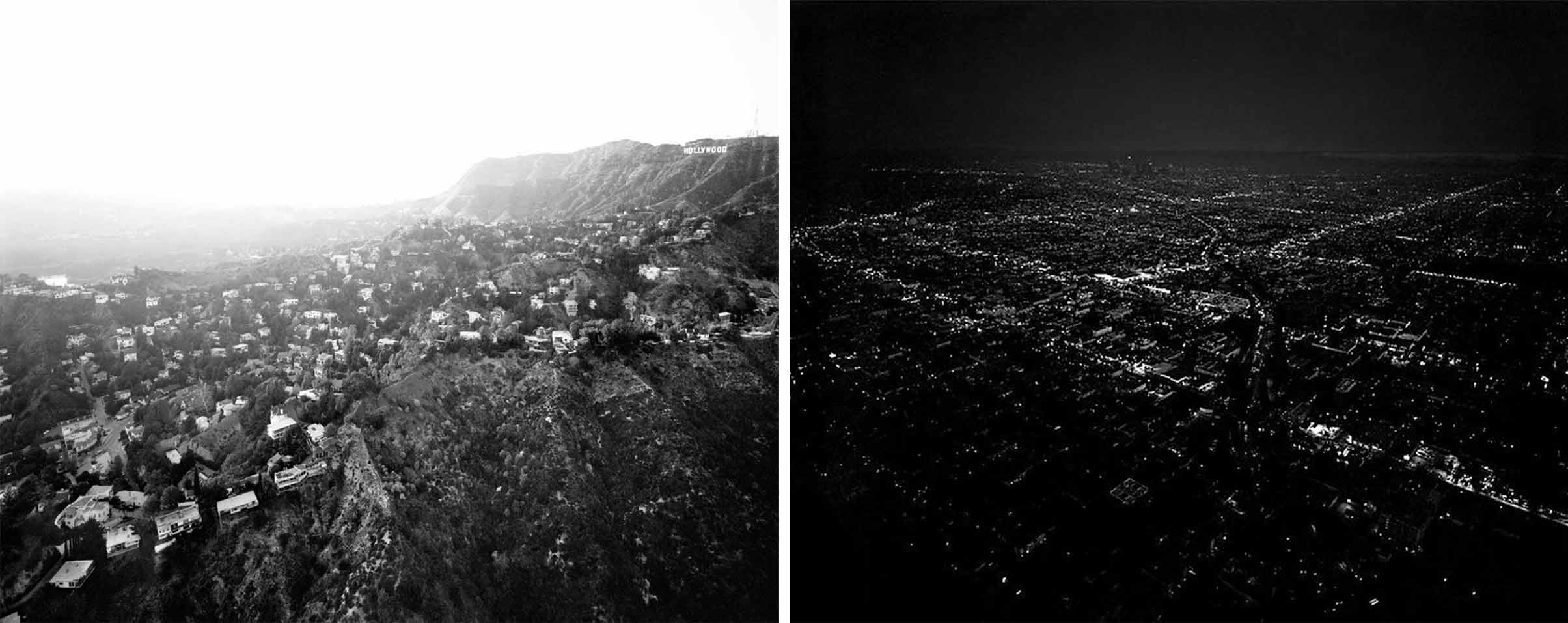"Left: ""Hollywood Hills From Griffith Park, Beachwood Drive and Hollywood Reservoir at Left, CA. Michael Light"". 2004. Right:   ""Untitled/Downtown Dusk"", Michael Light.  2005."