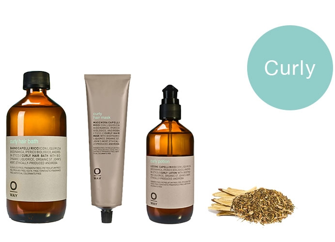 Curly. For curly or permed hair. Hair Bath $28   Mask $32   Styling Potion $35