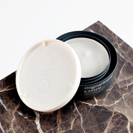 K-Gravel Texture Clay $28 | From  Original Mineral  | Pliable but extra strong hold texturizing wax with a matte finish. Great for short hair. Wonderful coconut scent.