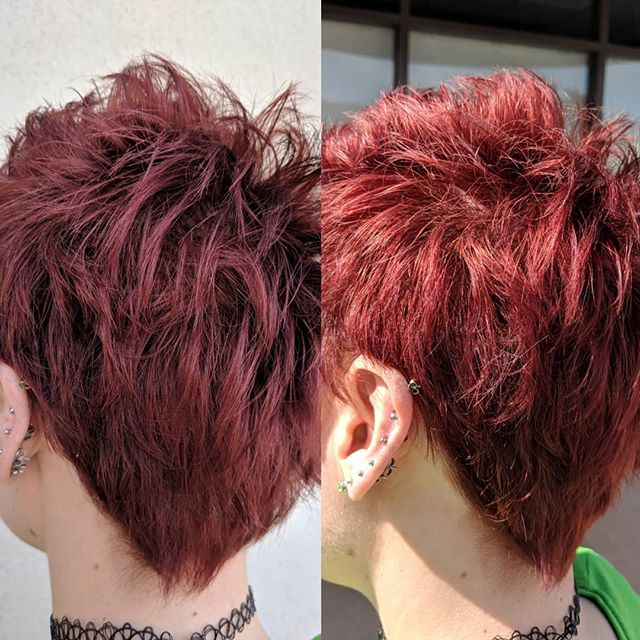 Vibrant color using the new @owayorganics Hbright. Left is in the shade, right is in the sun 🍒 . . . #cherrycolahair #hbright #owayorganics #owayhaircolor #pixiecut #redhair #ammoniafree #greenchemistry #simplyorganicbeauty #oway